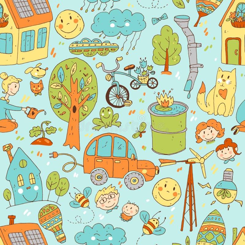 Wektorowego doodle śliczny bezszwowy wzór ekologia i rodzina Natura ilustracja wektor