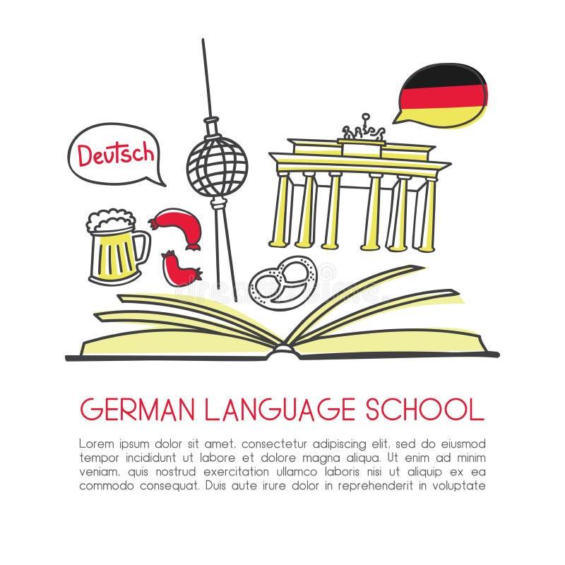 Wektorowego doodle ilustracyjna Niemiecka językowa szkoła royalty ilustracja