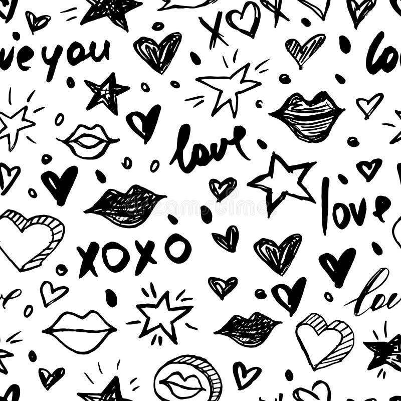 Wektorowego doodle romantyczny bezszwowy wzór Czarny i biały akwarela, atramentów valentines dnia tła ilustracja wektor