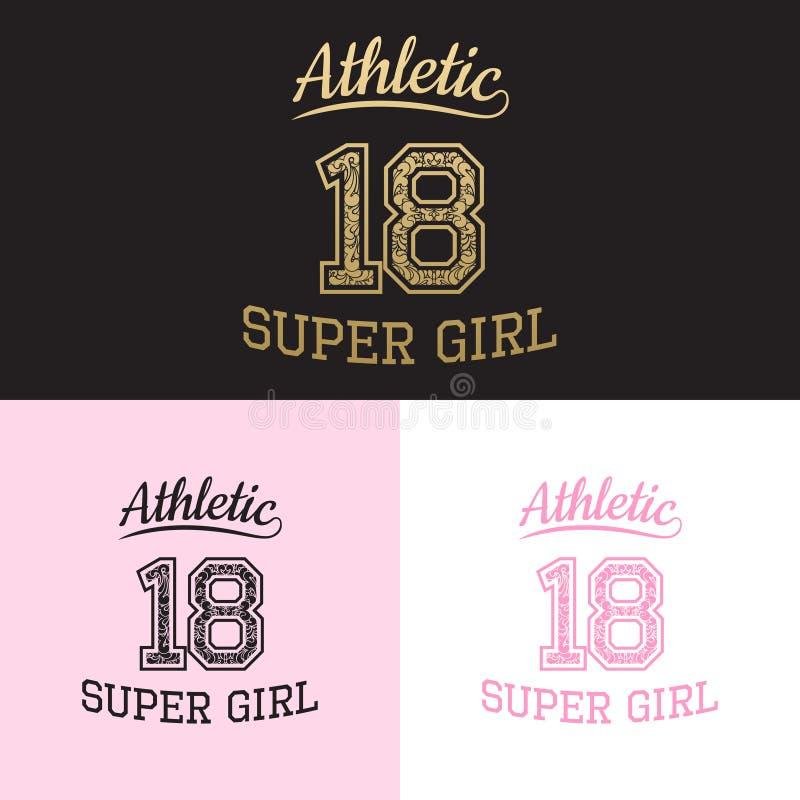 Wektorowego druku sportowa super dziewczyna dla typografii ilustracji