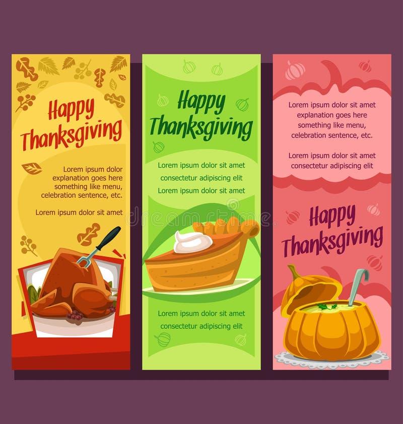 Wektorowego dziękczynienia pionowo sztandar z jesień sezonu naczynia dyniowym zupnym indykiem i kulebiakiem royalty ilustracja