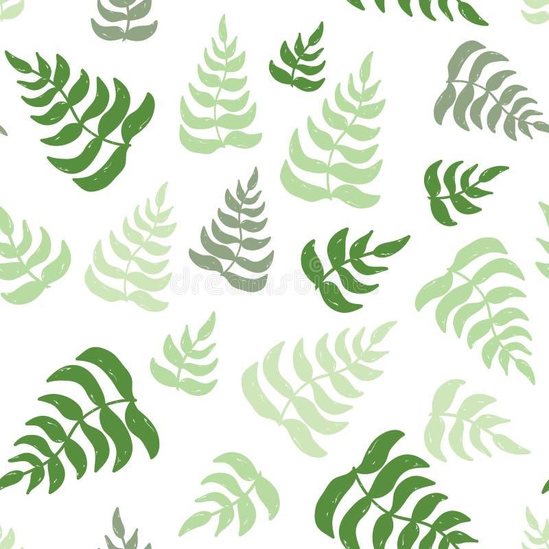 Wektorowego eco bezszwowy wzór z ręka rysującą zielenią opuszcza ilustracja wektor