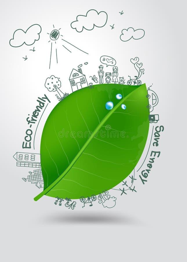 Wektorowego ekologii pojęcia kreatywnie rysunek na zielonym liściu ilustracja wektor
