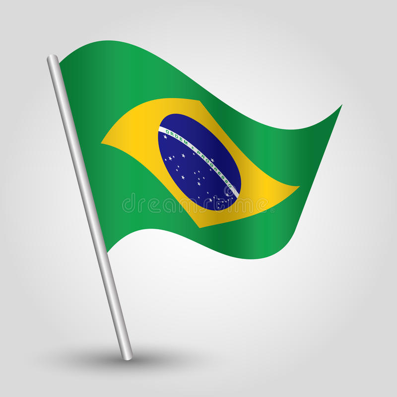 Wektorowego falowanie trójboka brazylijska flaga na nachylającym srebnym słupie - ikona Brazil z metalu kijem ilustracji