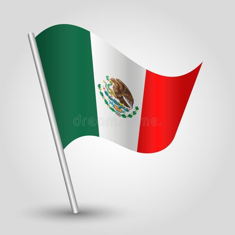Wektorowego falowanie trójboka meksykańska flaga na nachylającym srebnym słupie - ikona Mexico z metalu kijem ilustracji