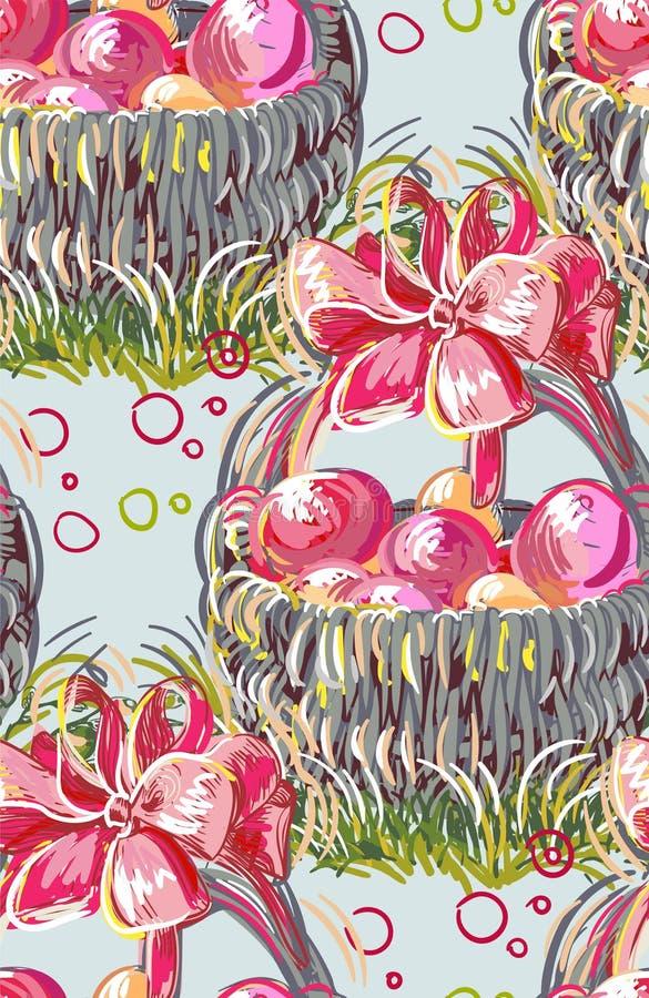 Wektorowego farba stylu projekta kwiatu kolorowy kosz ilustracja wektor
