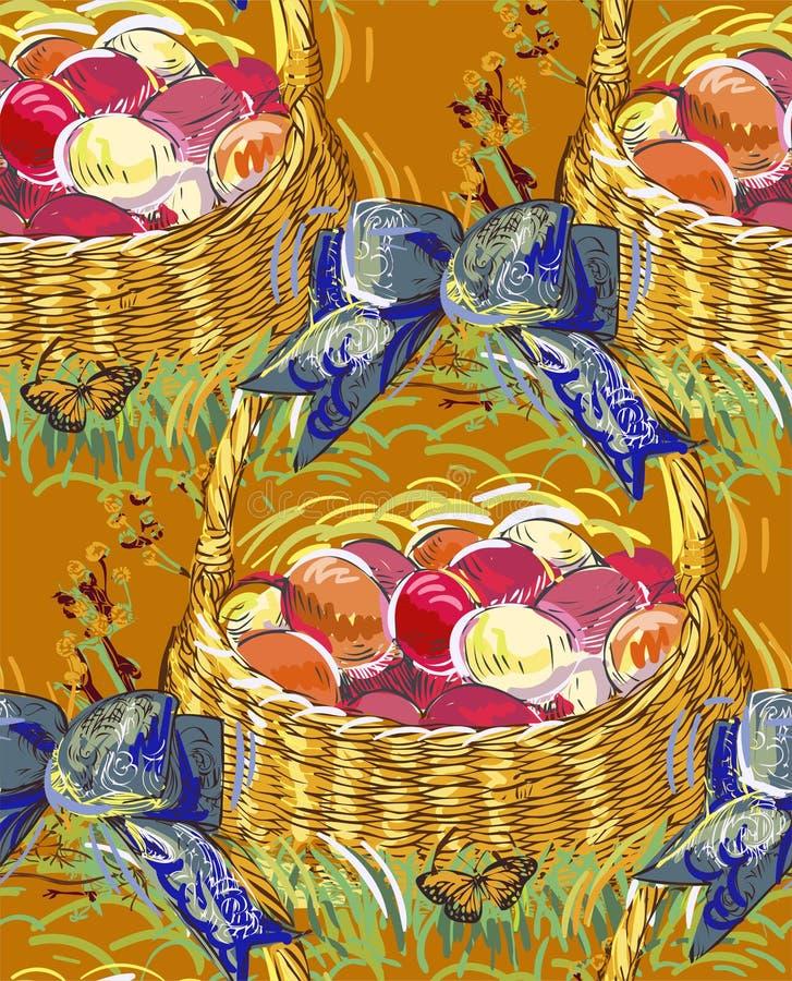 Wektorowego farba stylu projekta kwiatu kolorowy kosz ilustracji