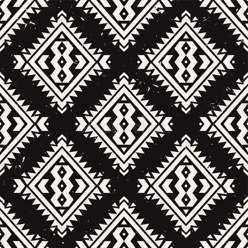 Wektorowego grunge monochromatyczny bezszwowy dekoracyjny etniczny wzór royalty ilustracja