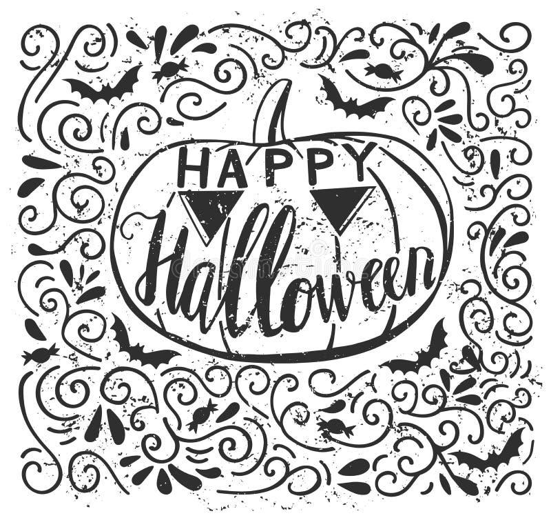 Wektorowego grunge plakatowy projekt z Halloweenowym ręki literowaniem royalty ilustracja