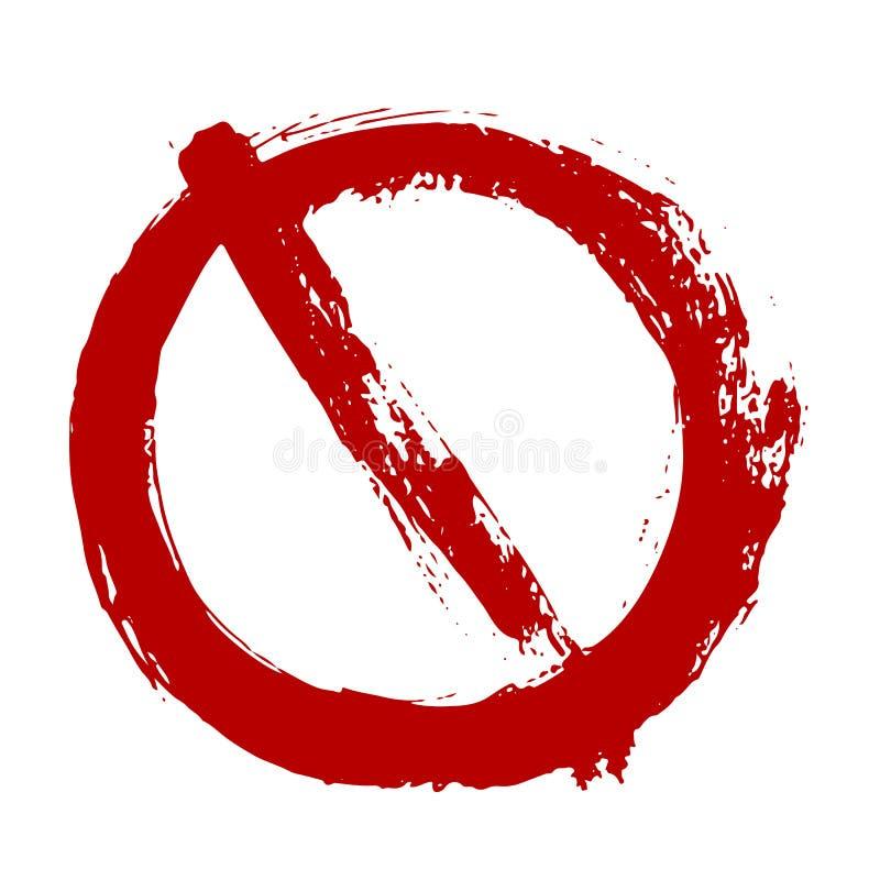 Wektorowego grunge Prohibitory znak odizolowywający na bielu Ostrzegawcza ograniczenie ikona ilustracja wektor