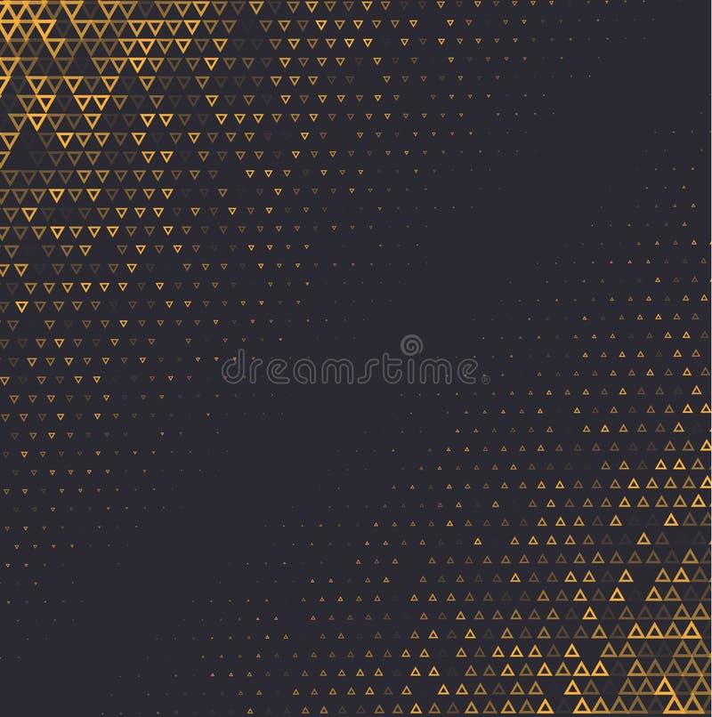 Wektorowego halftone abstrakcjonistyczny tło, czarna złocista gradientowa gradacja Geometryczny mozaika trójbok kształtuje monoch ilustracji