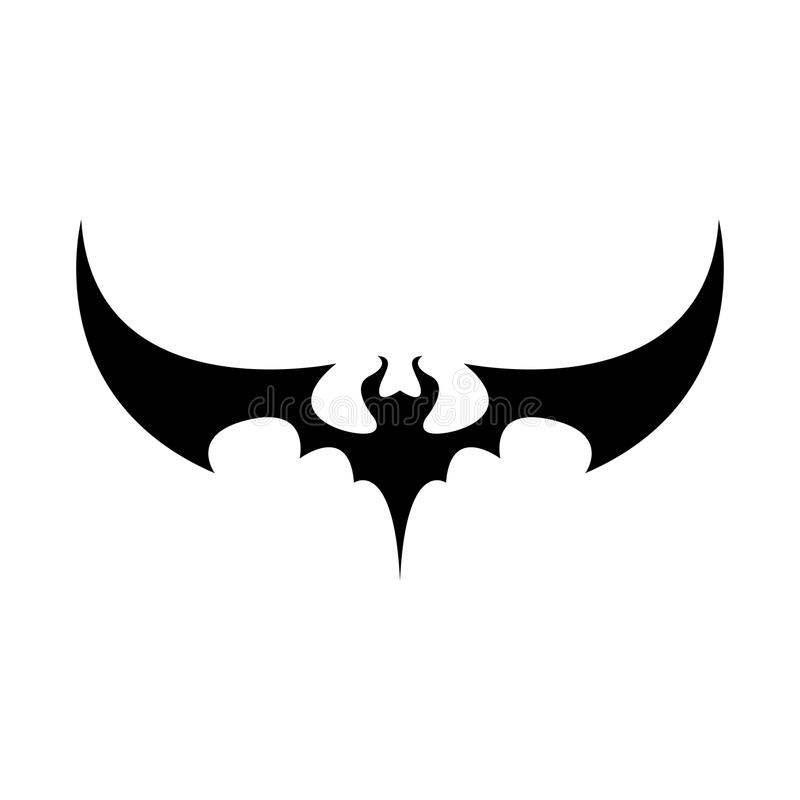 Wektorowego Halloween czerni nietoperza zwierzęca ikona lub znak odizolowywający na białym tle wektorowa nietoperz sylwetka z skr ilustracji