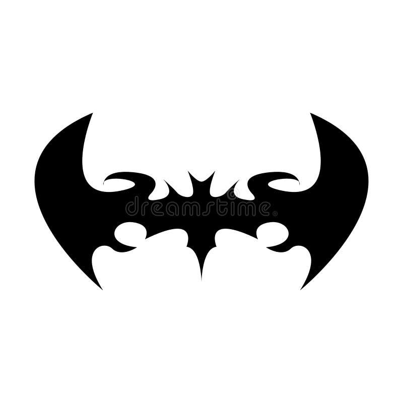 Wektorowego Halloween czerni nietoperza zwierzęca ikona lub znak odizolowywający na białym tle wektorowa nietoperz sylwetka z skr royalty ilustracja