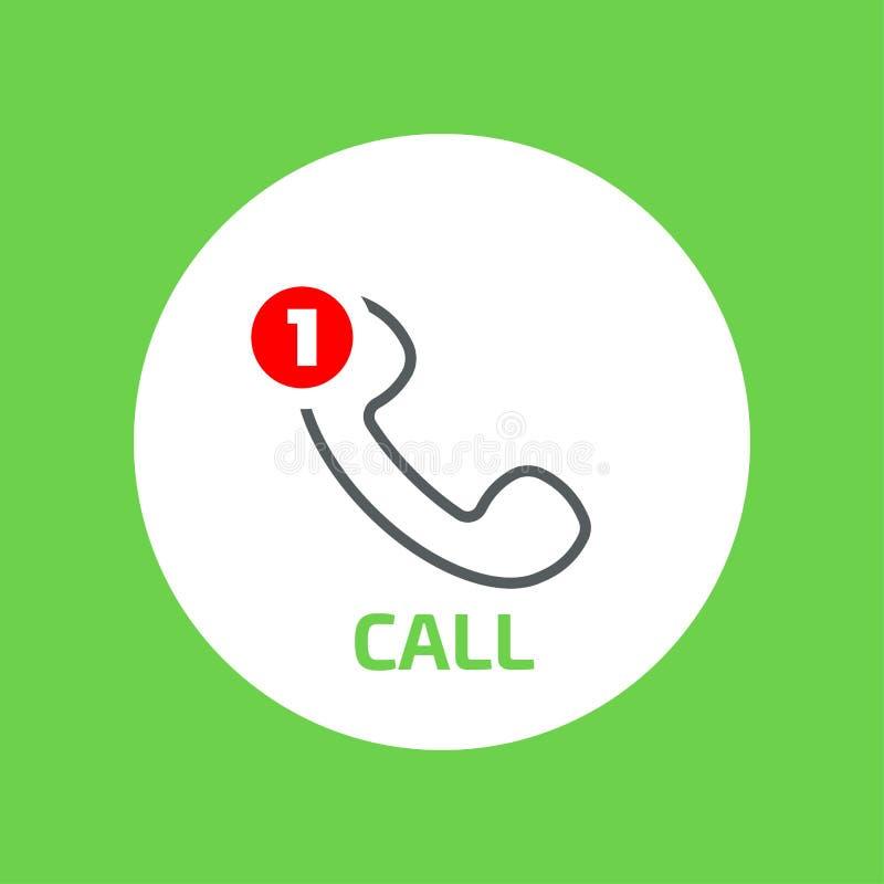 Wektorowego handset płaska ikona z brakującym wezwanie kontuarem ilustracji