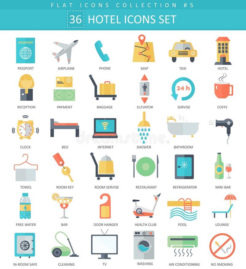Wektorowego hotelowego koloru ikony płaski set Eleganckiego stylu projekt ilustracja wektor