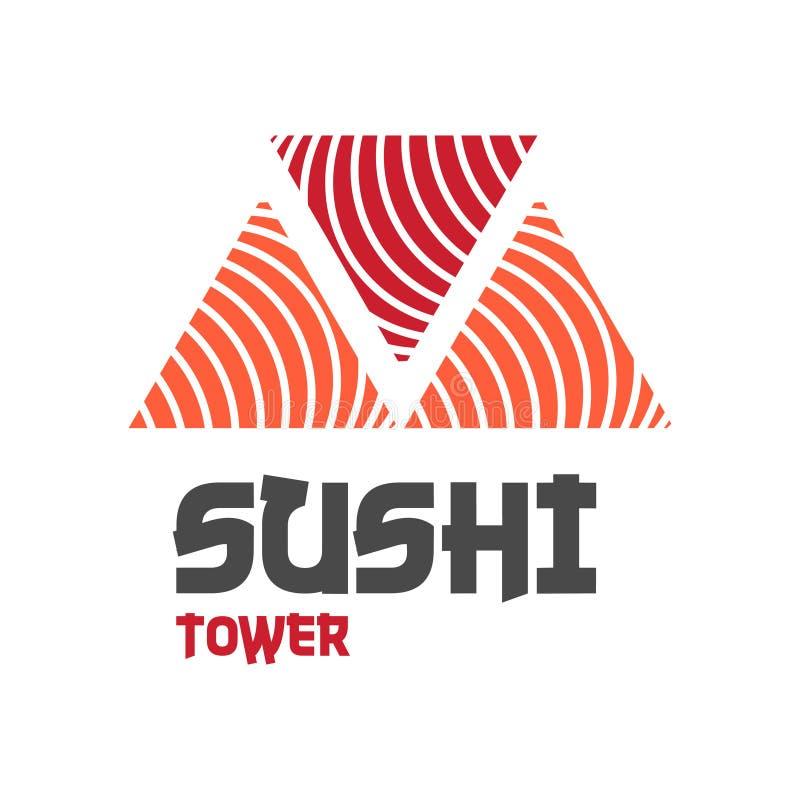 Wektorowego ikona stylu Ilustracyjny logo Azjatycki Uliczny fasta food bar lub sklep, suszi, Mak, Onigiri Łososiowa rolka z Chops ilustracja wektor