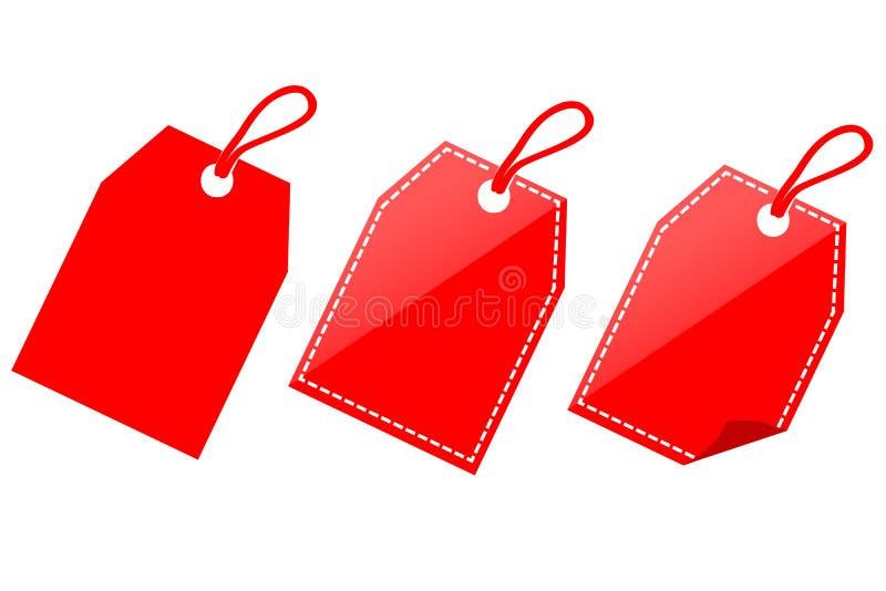 wektorowego ikona stylu ustalonego Czerwonego Olśniewającego prostokąta Pusta etykietka odizolowywająca na bielu ilustracji