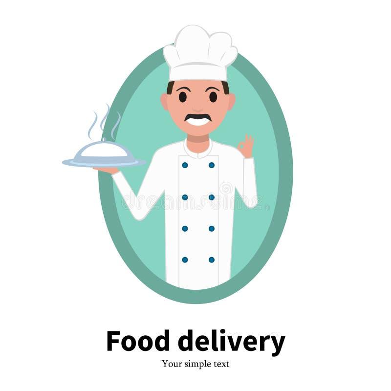 Wektorowego ikony kreskówki portreta szefa kuchni męski kucharz royalty ilustracja
