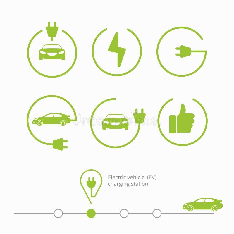 Wektorowego ilustraci szpilki punktu miejsca ładuje stacja dla elektrycznego samochodu zdjęcia royalty free