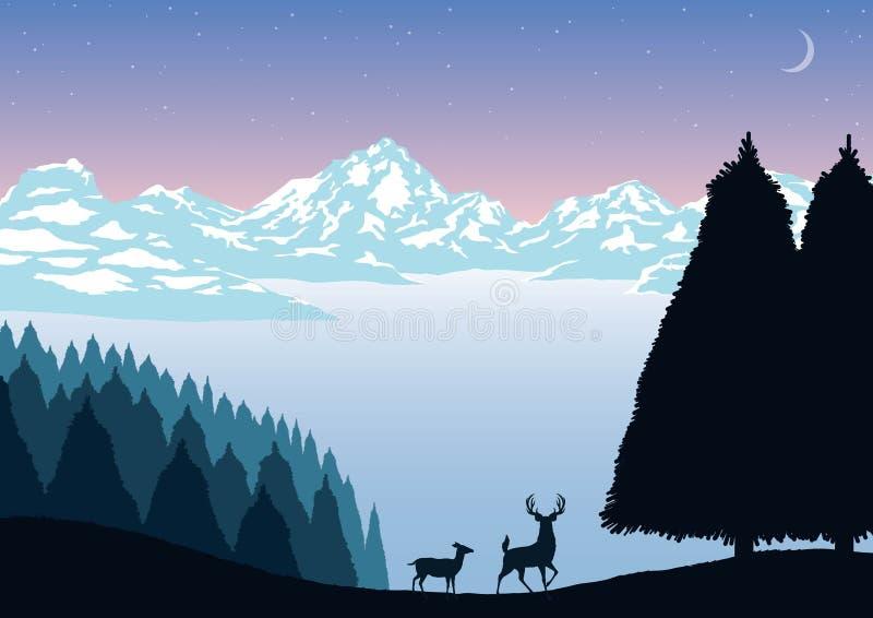 Wektorowego ilustracja krajobrazu gór śnieżni drzewa i zwierzęta przy nocą ilustracja wektor