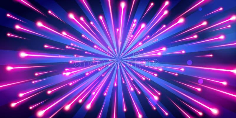 Wektorowego Ilustracyjnego abstrakcjonistycznego neonowego koloru uderzenia duzi fajerwerki, galaxy tło, prędkość światła ilustracji