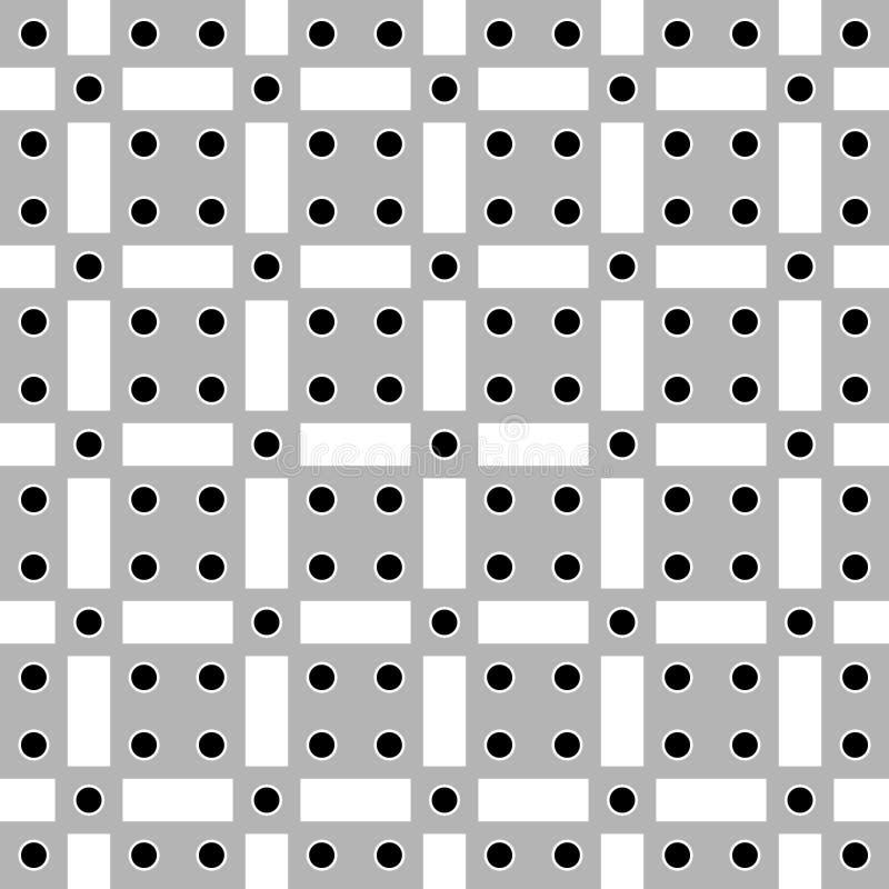 Wektorowego ilustracyjnego abstrakcjonistycznego tła bezszwowy wizerunek czerń okręgi, szarość kwadraty i biali prostokąty, ilustracja wektor