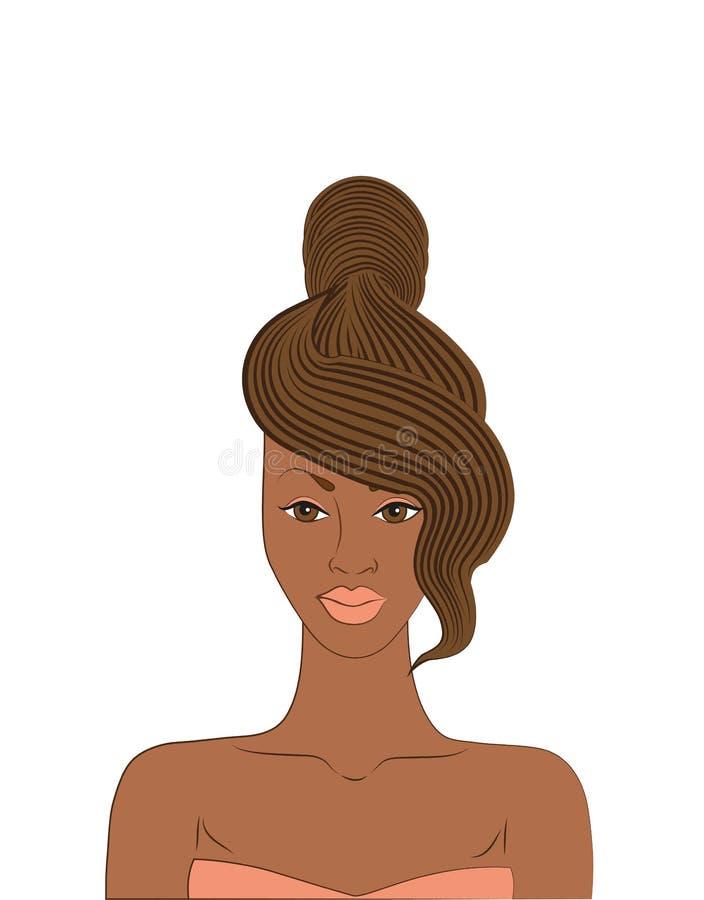 wektorowego ilustracyjnego amerykanina afrykańskiego pochodzenia piękna kobieta z eleganckim ostrzyżeniem royalty ilustracja