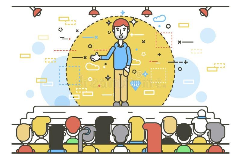 Wektorowego ilustracyjnego krasomówca rzecznika rzecznika biznesmena retoru głośnikowa ręka w kieszeniowym polityk mowy mówieniu ilustracja wektor