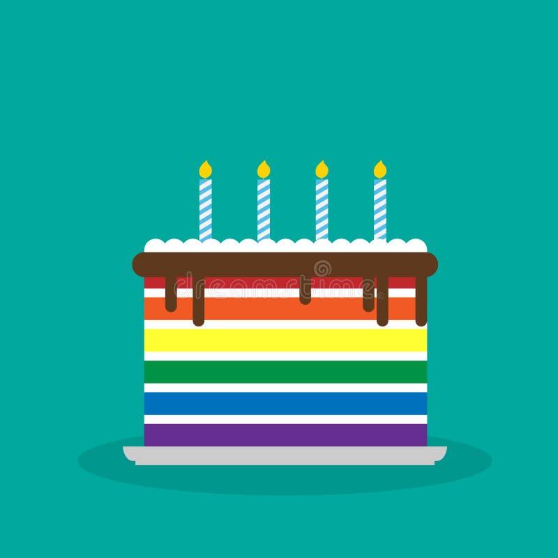 Wektorowego ilustracyjnego lgbt urodzinowy tort ilustracja wektor