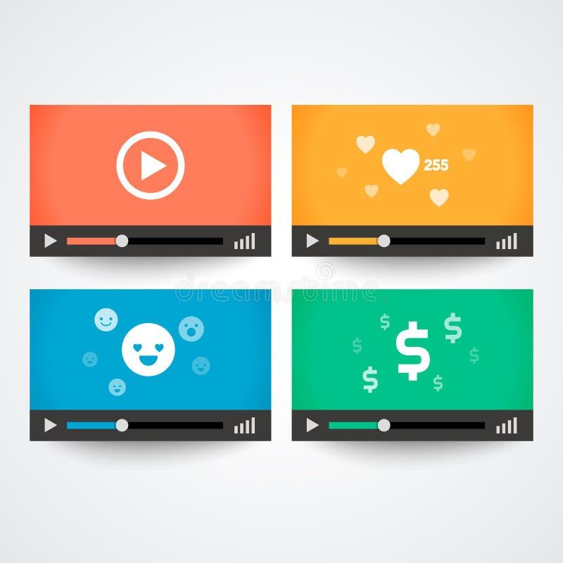 Wektorowego Ilustracyjnego odtwarzacz wideo Parawanowy i kolorowy Windows z ikonami ilustracji