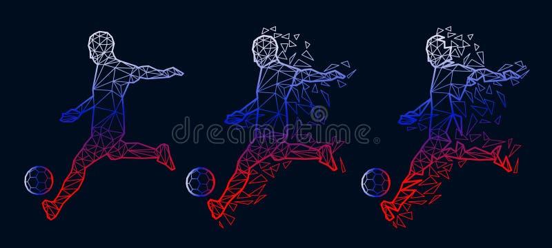 Wektorowego ilustracyjnego piłka nożna gracza futbolu poli- styl ilustracja wektor
