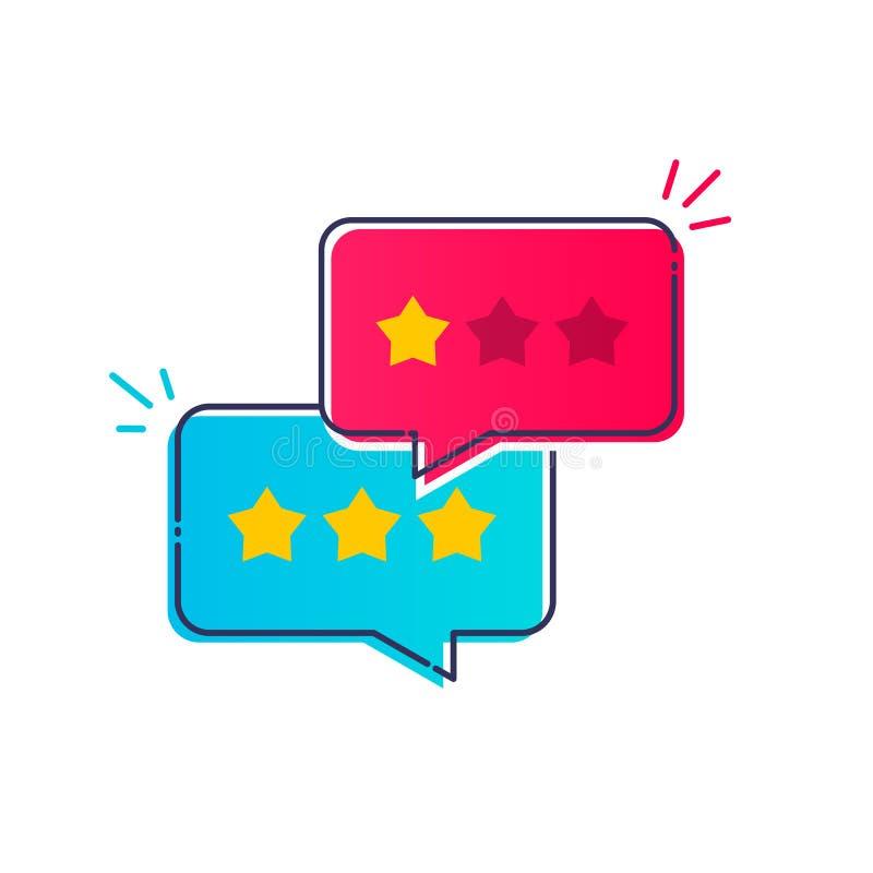 Wektorowego Ilustracyjnego użytkownika doświadczenia klienta przeglądu mowy bąbla komunikacyjna ikona, pojęcie informacje zwrotne ilustracja wektor