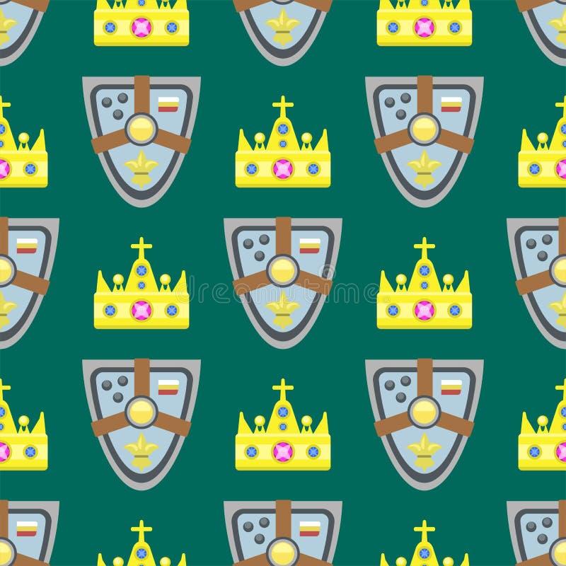 Wektorowego ilustracyjnego złotego korony bezszwowego deseniowego gemstone złocista majestatyczna dekoracja i królestwo biżuteria ilustracja wektor