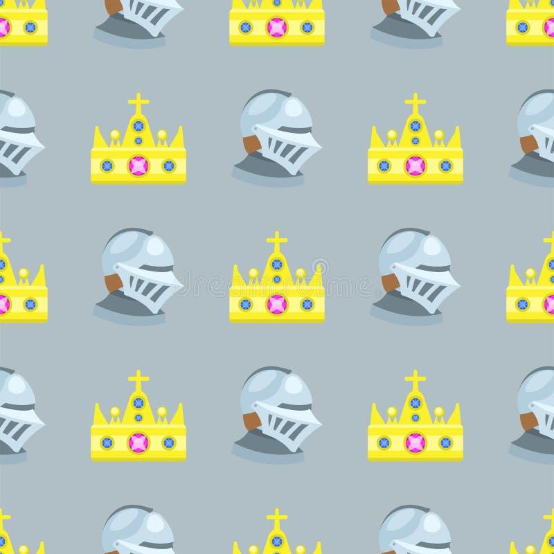 Wektorowego ilustracyjnego złotego korony bezszwowego deseniowego gemstone złocista majestatyczna dekoracja i królestwo biżuteria royalty ilustracja