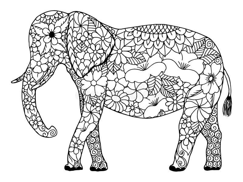 Wektorowego ilustracyjnego zentangl Indiański słoń w kwiatach Doodle rysunek Medytacyjni ćwiczenia Kolorystyki książki anty stres ilustracja wektor