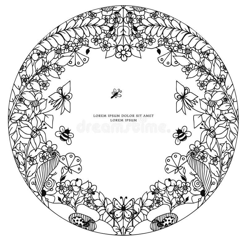 Wektorowego ilustracyjnego zentangl round kwiecista rama, symetria Doodle kwitnie, pszczoła, motyli zenart, dudling Barwić dla ilustracja wektor