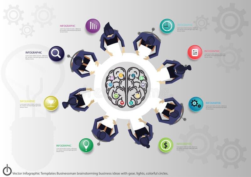 Wektorowego Infographic szablonów biznesmena brainstorming biznesowi pomysły z przekładnią, światła, kolorowi okręgi ilustracji