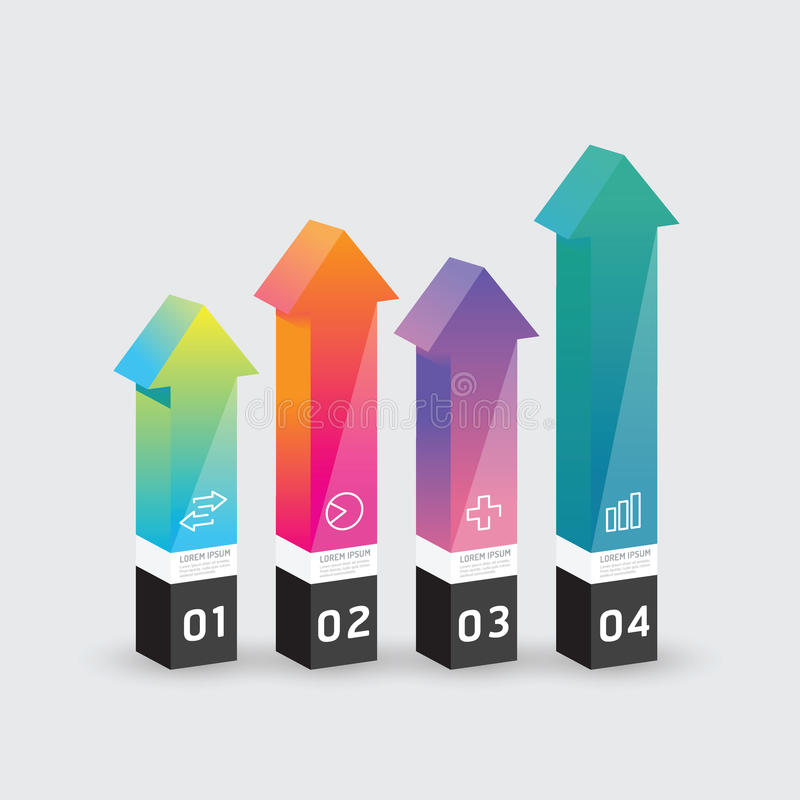 Wektorowego infographic szablon strzała pudełka Nowożytnego projekta Minimalny styl ilustracji