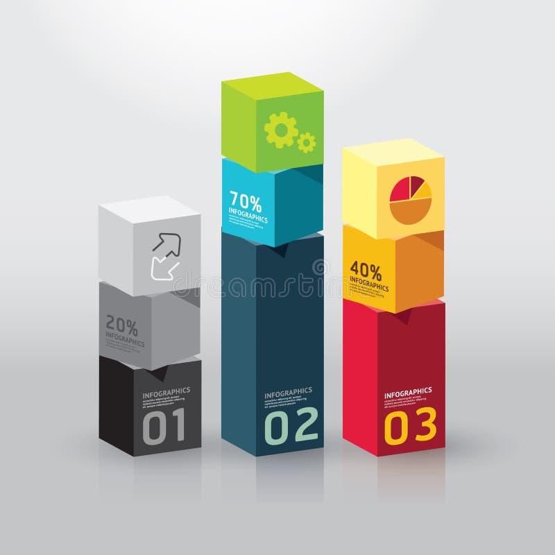 Wektorowego infographic szablonu Nowożytnego pudełkowatego projekta Minimalny styl ilustracja wektor