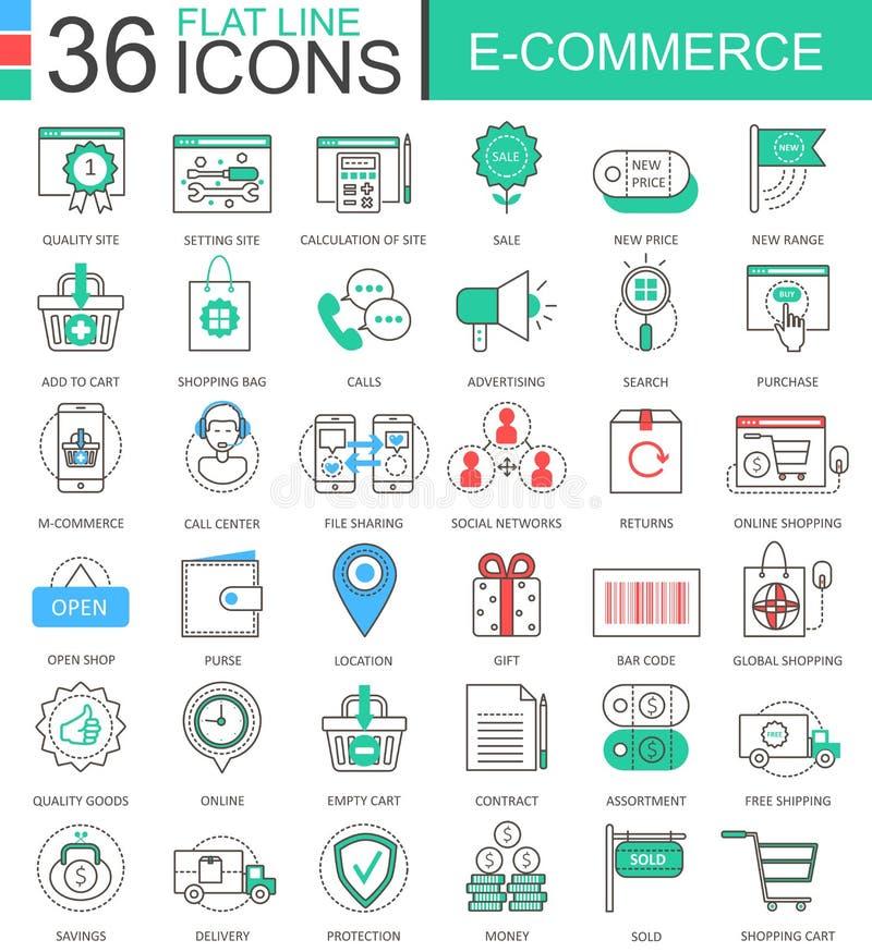 Wektorowego interneta handlu elektronicznego koloru mieszkania linii konturu nowożytne ikony dla apps i sieć projekta ilustracja wektor