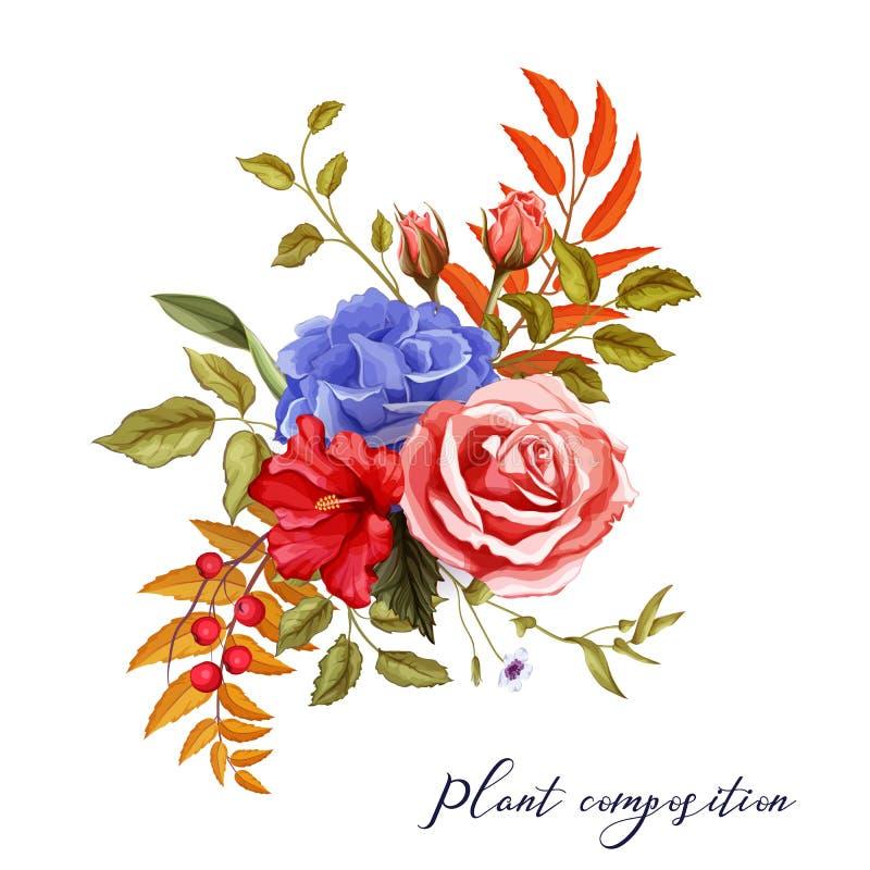 Wektorowego jesieni wiosny lata kwiatu różany bukiet ilustracja wektor