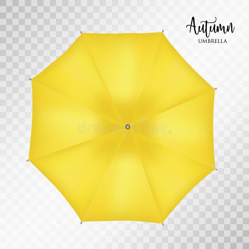 Wektorowego klasycznego żółtego round deszczu parasolowy odgórny widok tło przejrzysty ilustracja wektor
