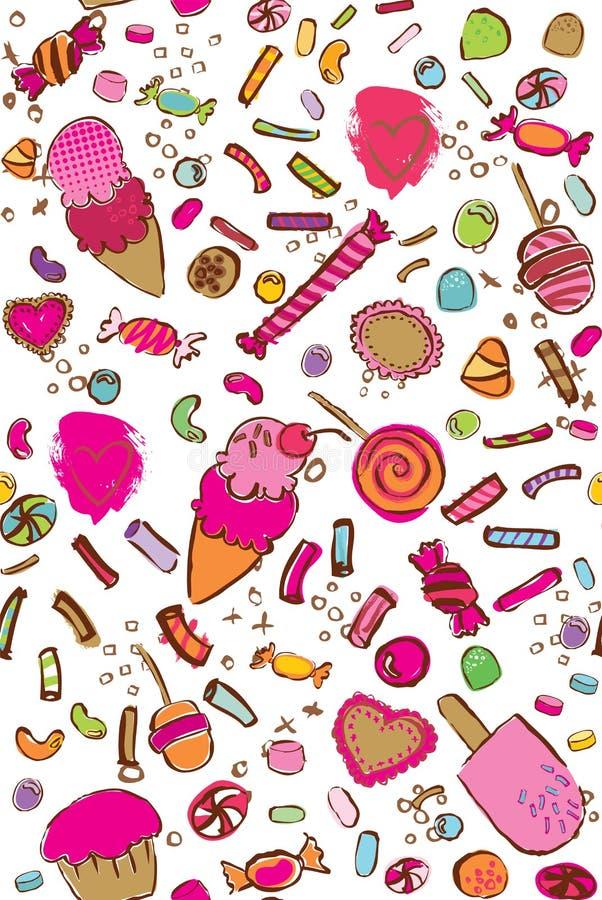 Wektorowego kolorowego cukierku bezszwowy wzór ilustracji