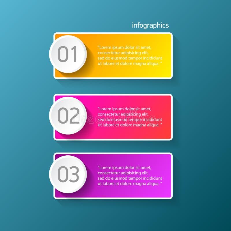 Wektorowego koloru postępu papieru nowożytni sztandary ustawiający z trzy krokami lub opcjami mogą używać dla biznesowego infogra ilustracji