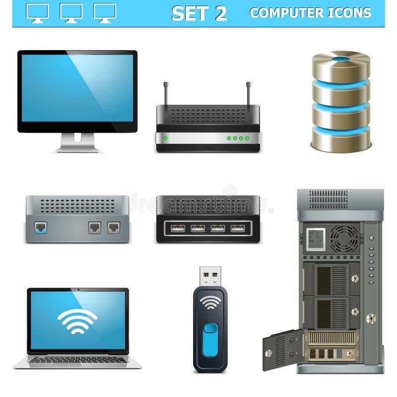 Wektorowego komputeru ikony Ustawiają 2