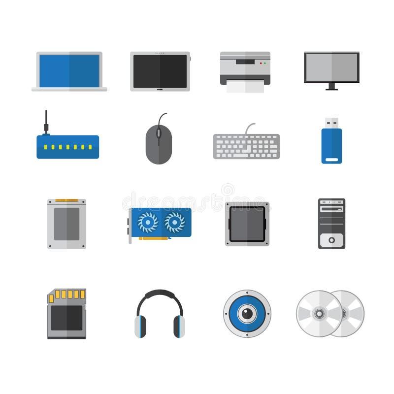 Wektorowego komputeru przyrządu ikony płaski projekt, akcesoria technologia royalty ilustracja