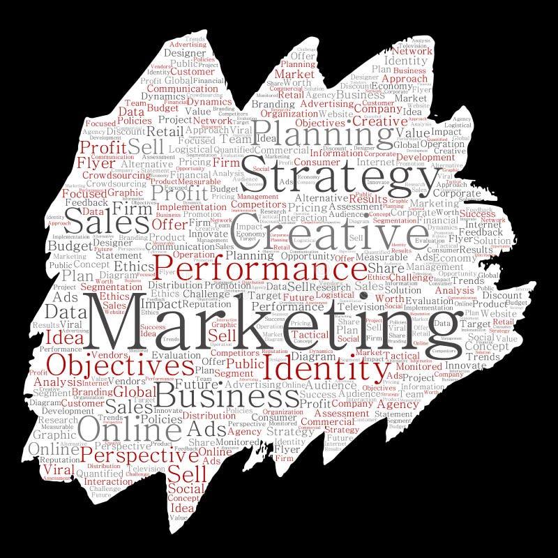 Wektorowego konceptualnego rozwoju marketingu celu farby muśnięcia papieru słowa biznesowa chmura odizolowywał tło Kolaż reklama, ilustracji