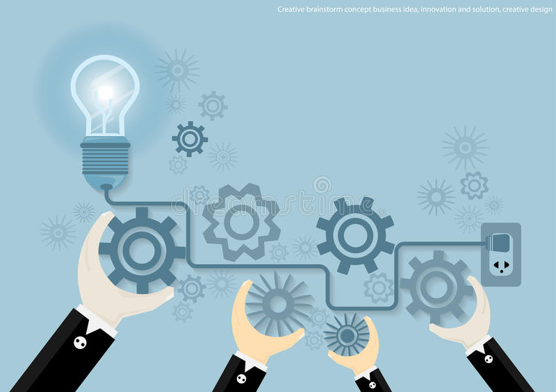 Wektorowego Kreatywnie brainstorm pojęcia biznesowy pomysł, innowacja i rozwiązanie, kreatywnie projekta płaski projekt ilustracji
