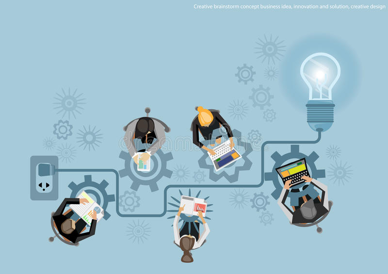 Wektorowego Kreatywnie brainstorm pojęcia biznesowy pomysł, innowacja i rozwiązanie, kreatywnie projekta płaski projekt royalty ilustracja
