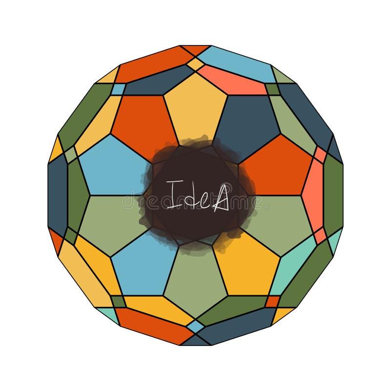 Wektorowego kreatywnie pomysłu witrażu okno mózg abstrakcjonistyczny symbol royalty ilustracja